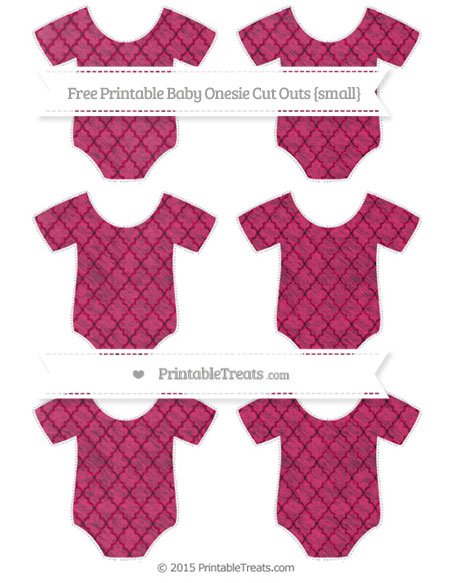 Free Ruby Pink Moroccan Tile Chalk Style Small Baby Onesie Cut Outs