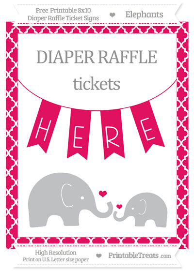 Free Ruby Pink Moroccan Tile Elephant 8x10 Diaper Raffle Ticket Sign