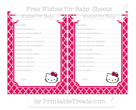 Free Ruby Pink Moroccan Tile Hello Kitty Wishes for Baby Sheets
