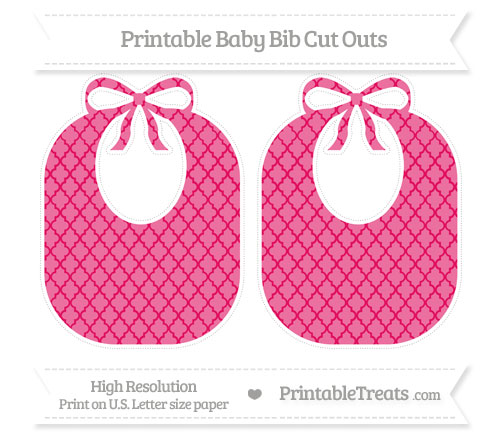 Free Ruby Pink Moroccan Tile Large Baby Bib Cut Outs