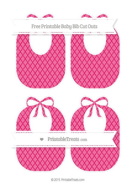 Free Ruby Pink Moroccan Tile Medium Baby Bib Cut Outs