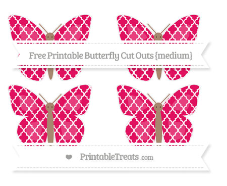 Free Ruby Pink Moroccan Tile Medium Butterfly Cut Outs