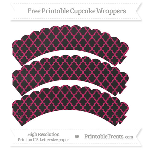 Free Ruby Pink Moroccan Tile Pattern Chalk Style Scalloped Cupcake Wrappers