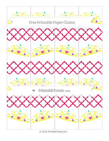 Free Ruby Pink Moroccan Tile Princess Tiara Paper Chains