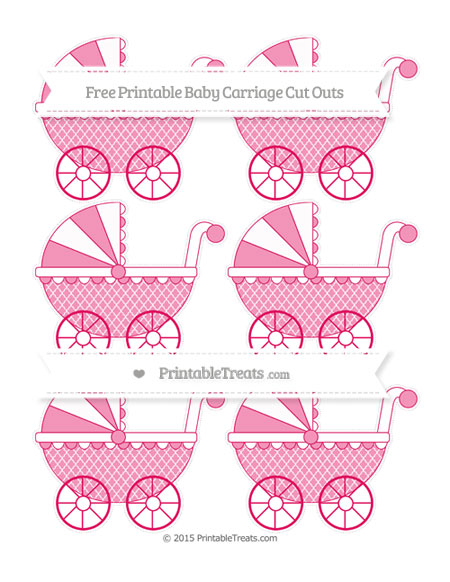 Free Ruby Pink Moroccan Tile Small Baby Carriage Cut Outs