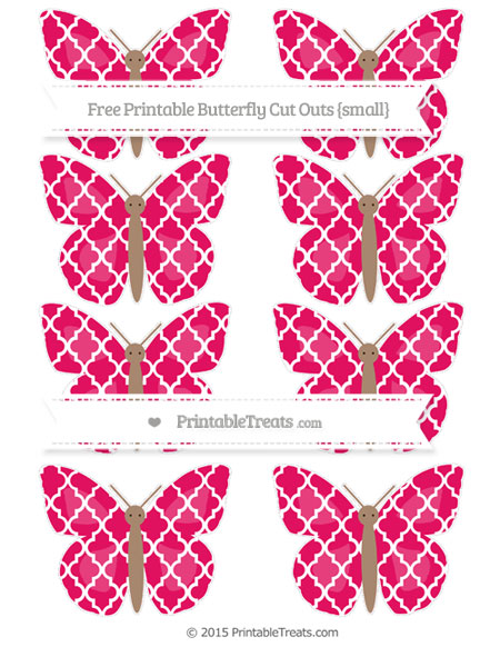 Free Ruby Pink Moroccan Tile Small Butterfly Cut Outs