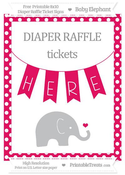 Free Ruby Pink Polka Dot Baby Elephant 8x10 Diaper Raffle Ticket Sign