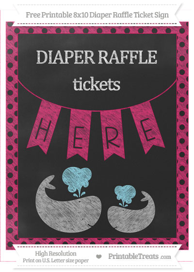 Free Ruby Pink Polka Dot Chalk Style Baby Whale 8x10 Diaper Raffle Ticket Sign
