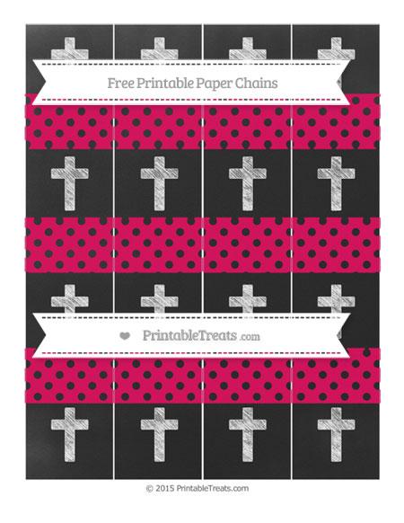 Free Ruby Pink Polka Dot Chalk Style Cross Paper Chains