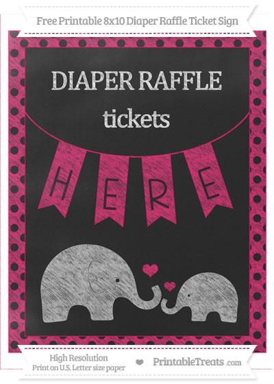 Free Ruby Pink Polka Dot Chalk Style Elephant 8x10 Diaper Raffle Ticket Sign