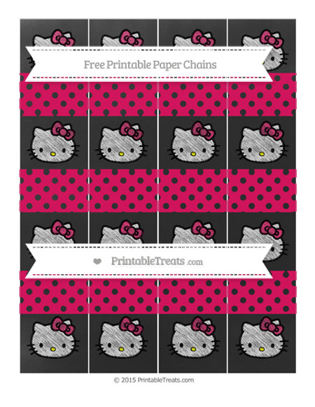 Free Ruby Pink Polka Dot Chalk Style Hello Kitty Paper Chains