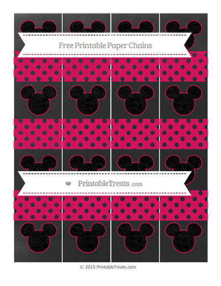 Free Ruby Pink Polka Dot Chalk Style Mickey Mouse Paper Chains