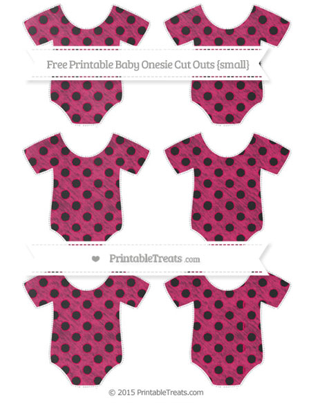 Free Ruby Pink Polka Dot Chalk Style Small Baby Onesie Cut Outs