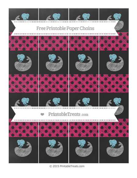 Free Ruby Pink Polka Dot Chalk Style Whale Paper Chains
