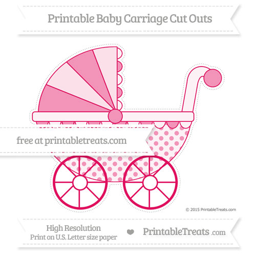 Free Ruby Pink Polka Dot Extra Large Baby Carriage Cut Outs