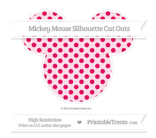 Free Ruby Pink Polka Dot Extra Large Mickey Mouse Silhouette Cut Outs