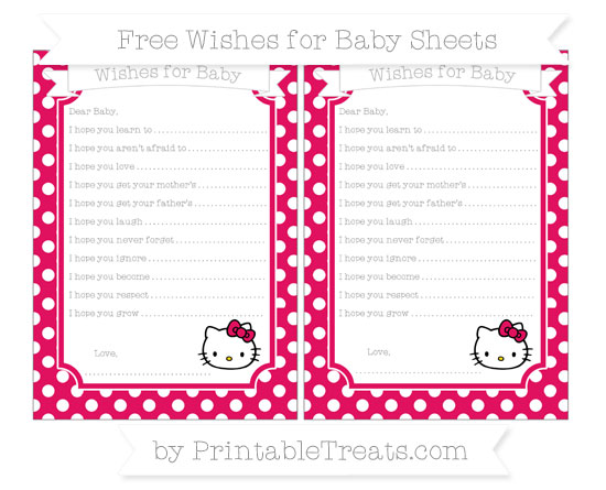 Free Ruby Pink Polka Dot Hello Kitty Wishes for Baby Sheets