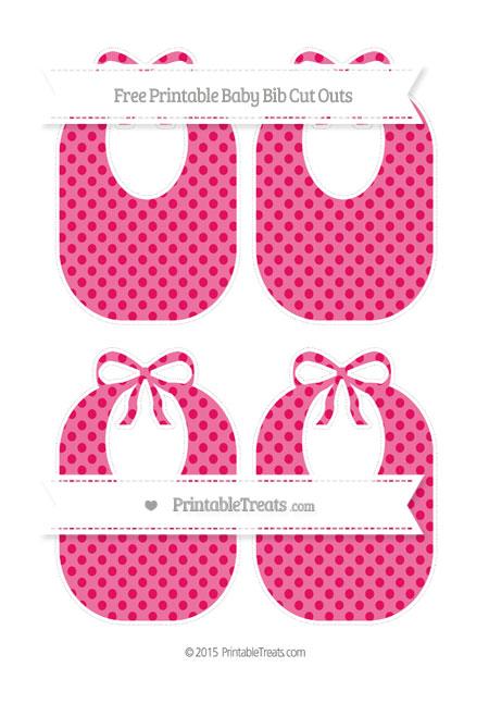 Free Ruby Pink Polka Dot Medium Baby Bib Cut Outs