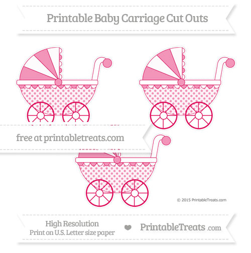 Free Ruby Pink Polka Dot Medium Baby Carriage Cut Outs