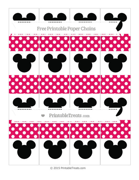 Free Ruby Pink Polka Dot Mickey Mouse Paper Chains