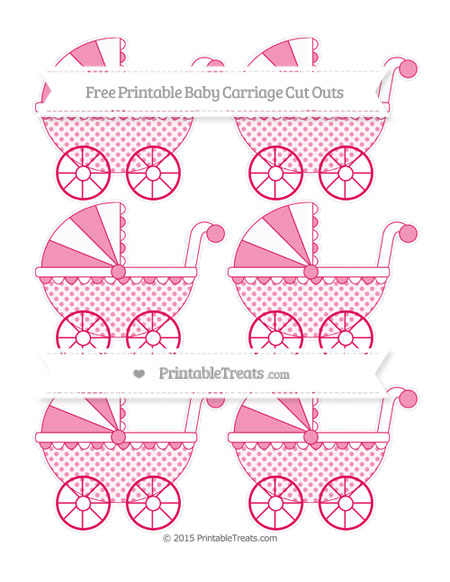 Free Ruby Pink Polka Dot Small Baby Carriage Cut Outs