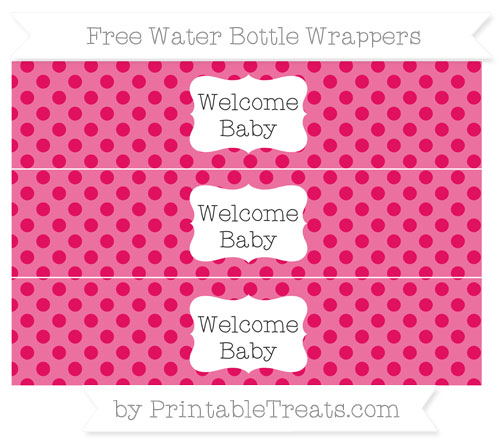 Free Ruby Pink Polka Dot Welcome Baby Water Bottle Wrappers