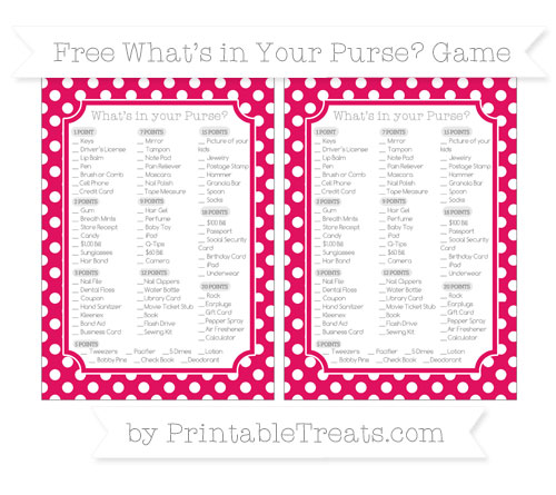 Free Ruby Pink Polka Dot What's in Your Purse Baby Shower Game