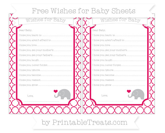 Free Ruby Pink Quatrefoil Pattern Baby Elephant Wishes for Baby Sheets