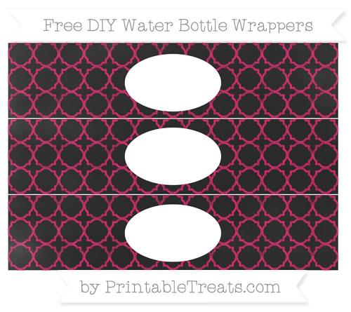 Free Ruby Pink Quatrefoil Pattern Chalk Style DIY Water Bottle Wrappers