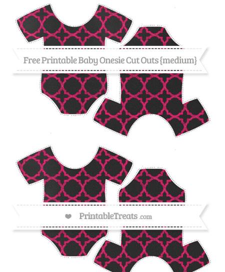 Free Ruby Pink Quatrefoil Pattern Chalk Style Medium Baby Onesie Cut Outs