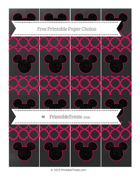 Free Ruby Pink Quatrefoil Pattern Chalk Style Mickey Mouse Paper Chains
