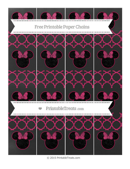 Free Ruby Pink Quatrefoil Pattern Chalk Style Minnie Mouse Paper Chains