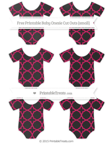 Free Ruby Pink Quatrefoil Pattern Chalk Style Small Baby Onesie Cut Outs