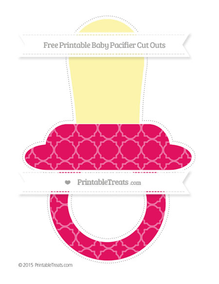 Free Ruby Pink Quatrefoil Pattern Extra Large Baby Pacifier Cut Outs