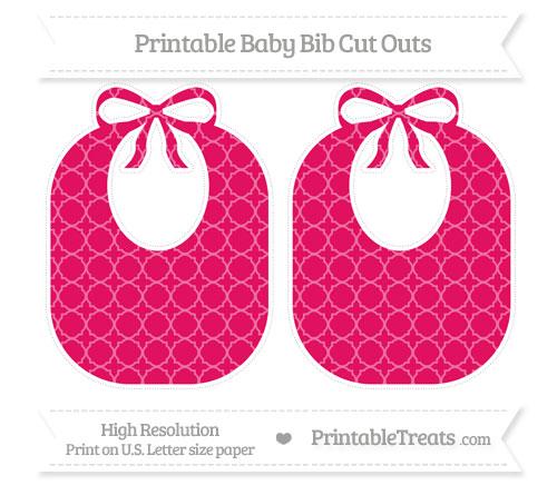 Free Ruby Pink Quatrefoil Pattern Large Baby Bib Cut Outs