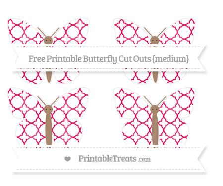 Free Ruby Pink Quatrefoil Pattern Medium Butterfly Cut Outs