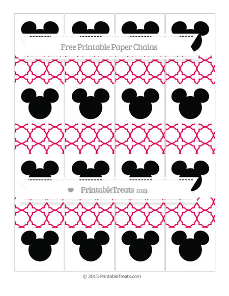 Free Ruby Pink Quatrefoil Pattern Mickey Mouse Paper Chains