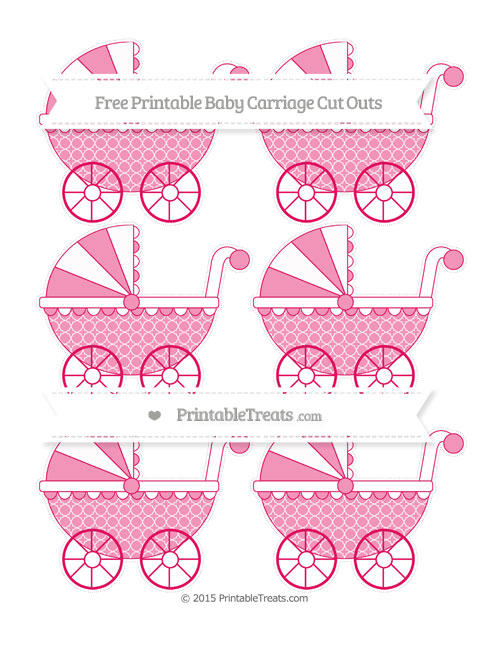 Free Ruby Pink Quatrefoil Pattern Small Baby Carriage Cut Outs