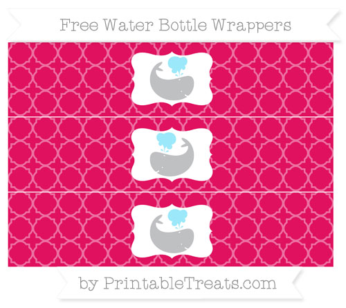 Free Ruby Pink Quatrefoil Pattern Whale Water Bottle Wrappers