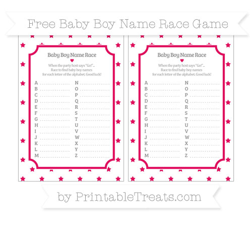 Free Ruby Pink Star Pattern Baby Boy Name Race Game
