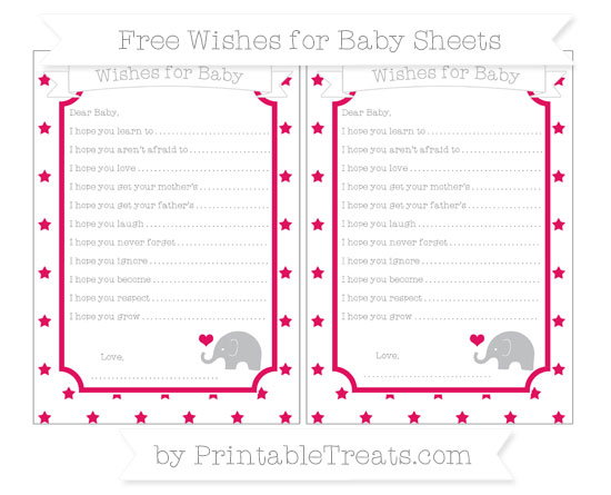 Free Ruby Pink Star Pattern Baby Elephant Wishes for Baby Sheets