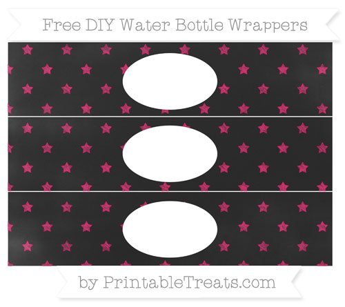 Free Ruby Pink Star Pattern Chalk Style DIY Water Bottle Wrappers