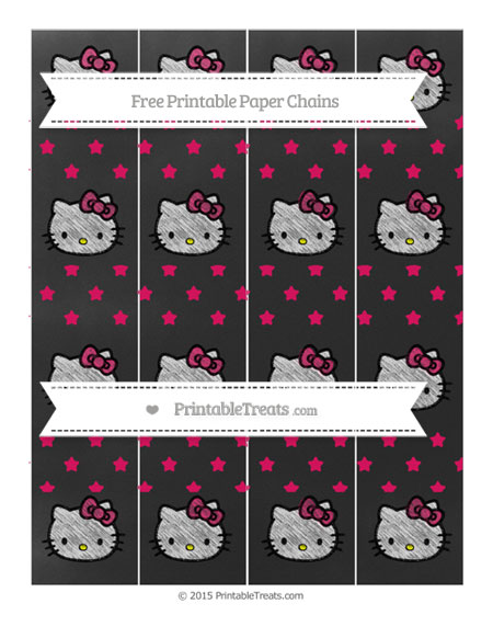 Free Ruby Pink Star Pattern Chalk Style Hello Kitty Paper Chains
