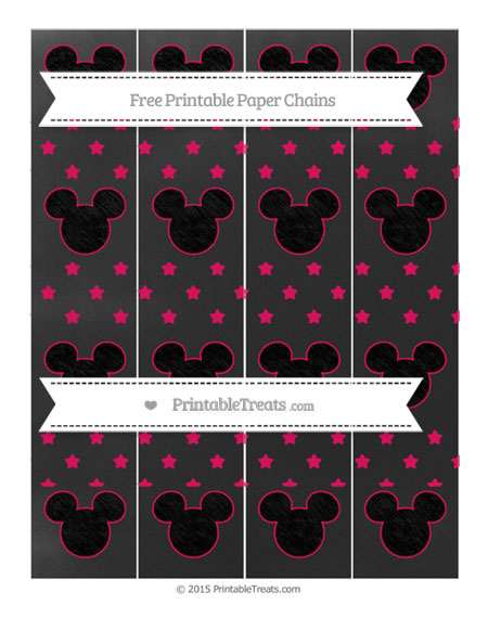 Free Ruby Pink Star Pattern Chalk Style Mickey Mouse Paper Chains