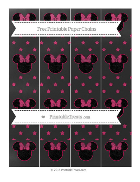 Free Ruby Pink Star Pattern Chalk Style Minnie Mouse Paper Chains