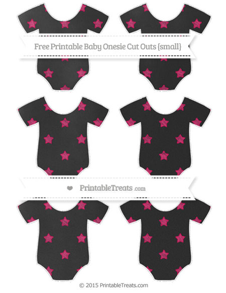 Free Ruby Pink Star Pattern Chalk Style Small Baby Onesie Cut Outs