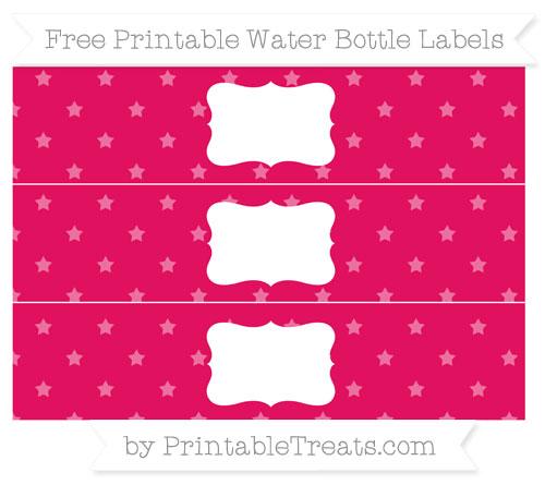 Free Ruby Pink Star Pattern Water Bottle Labels