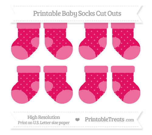 Free Ruby Pink Star Pattern Small Baby Socks Cut Outs