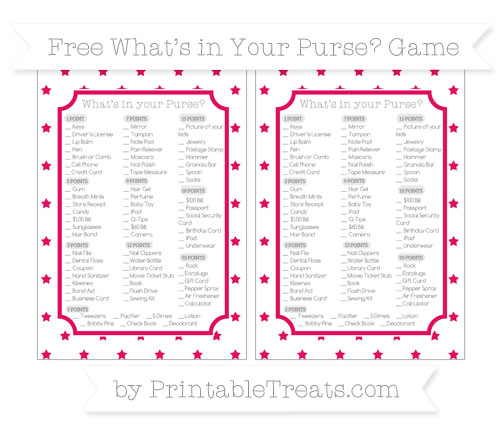 Free Ruby Pink Star Pattern What's in Your Purse Baby Shower Game
