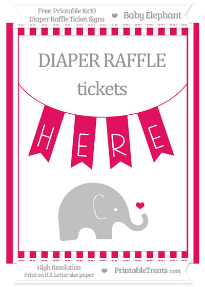 Free Ruby Pink Striped Baby Elephant 8x10 Diaper Raffle Ticket Sign